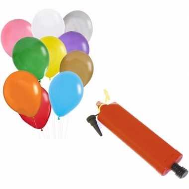 100 gekleurde ballonnen met ballonnenpomp